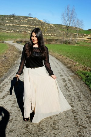 white Mango skirt - black Mango blouse