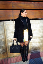 black Zara boots - black New Yorker coat - Primark tights - ivankatrump bag