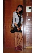 silver lace Choies jacket - brick red Lefties boots - black bodycon Choies dress