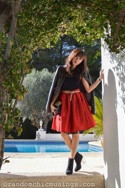 red Chicwish skirt - black Zara boots - black lace dress midi Zara dress