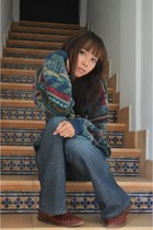 teal thrift jumper - brick red boots - navy flared jeans jeans