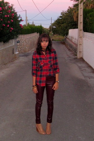 ruby red plaid Choies shirt - crimson faux leather Choies pants