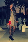 Black-zara-boots-camel-oasis-dress-crimson-pull-bear-jacket