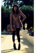 black Zara boots - pink knit peplum Zara jacket
