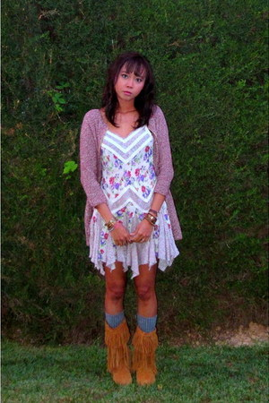 periwinkle free people dress - bronze sam edelman boots