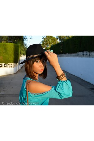 turquoise blue DIY blouse - ruby red Lefties boots - black asos hat