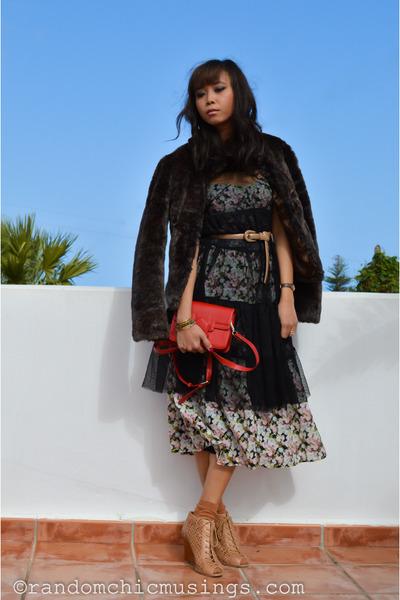 dark khaki Zara dress - black lace sheer Zara dress
