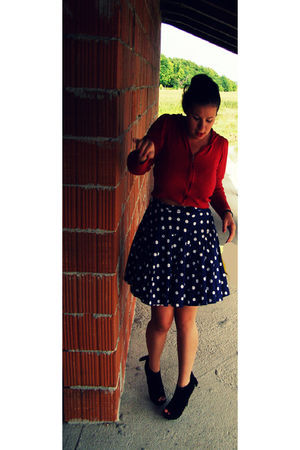 red Marks and Spencer cardigan - blue vintage skirt - black Miss Selfridge shoes