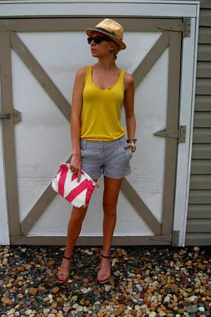 ikat print Donna Dixon bag - straw fedora Forever 21 hat - J Crew shorts