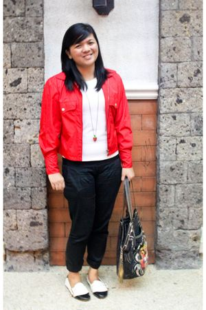 red closet blazer - white F&H shirt - red DIY accessories - black Bazaar pants -