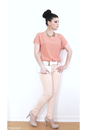 peach jeggings Zara pants - white bow belt Sirens belt