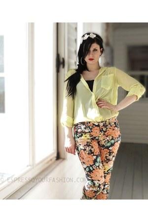 light yellow UK2LA blouse - light orange floral print Parisian jeans
