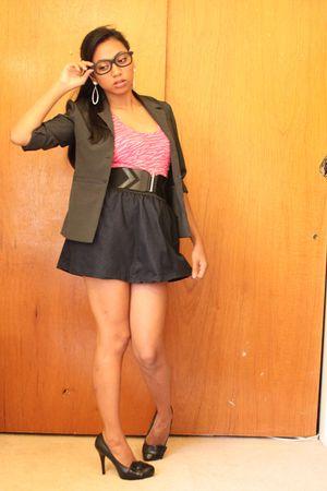 black blazer - Walmart skirt - Walmart blouse - black Forever 21 belt - Forever