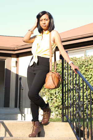 Forever21 blouse - Zara bag