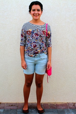 striped J Crew top - hot pink Rebecca Minkoff bag - light blue jean Gap shorts