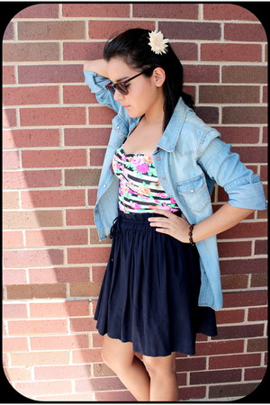 Victorias Secret top - navy high waisted Mango skirt