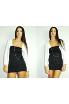 white cardigan - black bandage dress dress