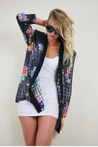 black vintage sunglasses - white dress - black jacket