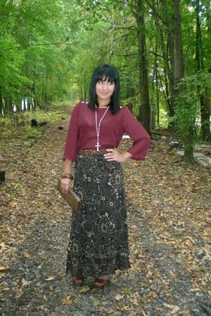 maroon sheer top Forever 21 shirt - dark brown 70s style shoes JustFab heels