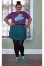 Purple-band-tee-shirt-teal-mossimo-skirt-gold-geranium-necklace