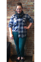 green Ann Klein scarf - dark green jeans - blue thrifted shirt
