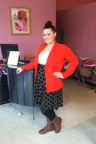 Red Scew skirt - Bumper boots - Maurices blouse - thrifted cardigan