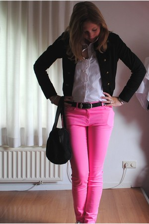 hot pink H&M jeans - black H&M blazer - white H&M blouse