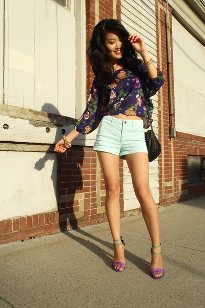 light blue H&M shorts - blue floral print thrifted top - amethyst asos sandals