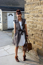 warehouse dress - All Saints jacket - Topshop bag - Matalan wedges - necklace
