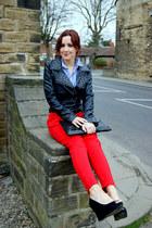 Matalan jacket - Topshop shirt - asos bag - new look wedges - Boohoo pants