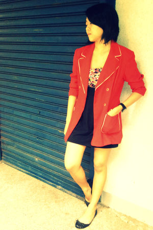 red Archive Clothing blazer - Dorothy Perkins dress - Zara shoes