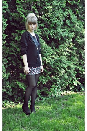 high deichman shoes - simple Calzedonia tights - flowers New Yorker skirt - simp