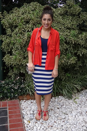 navy stripes Country Road skirt - red silk collared Country Road shirt