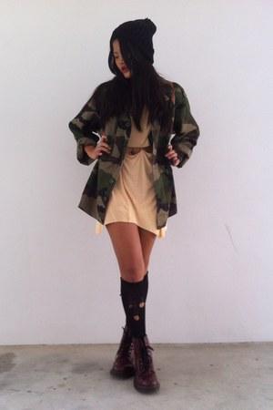 jacket - boots - dress - hat - bag - socks