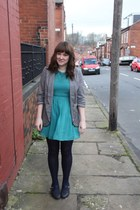 navy charity shop shoes - teal Urban Outfitters dress