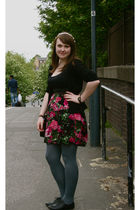 gray Primark tights - TK Maxx dress - black H&M cardigan - below 7 shoes - DIY a