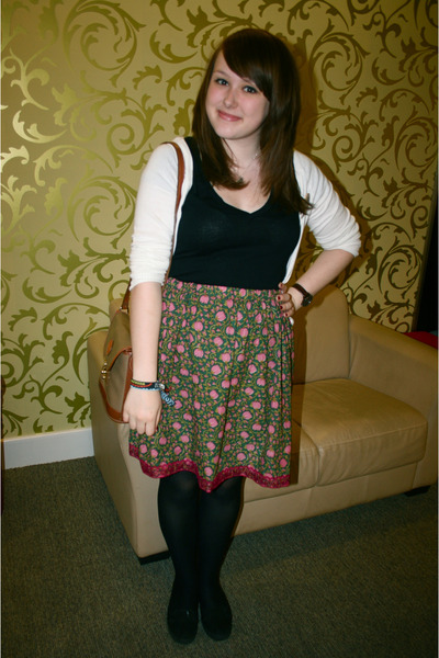 Handmade via random shop skirt - Vans shoes - H&M top - H&M cardigan - vintage a