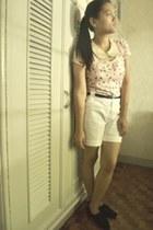 white ann taylor shorts - black Bianca flats