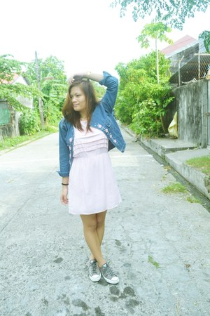 light pink Cache Cache dress - blue Gurls jacket
