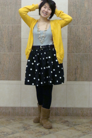 yellow cardigan - black skirt - silver t-shirt - brown boots