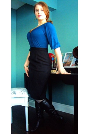 blue winners blouse - black Value Village skirt - silver Betsy Johnson tights -