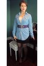 Winners-shirt-black-vintage-skirt-purple-susy-shier-belt-black-thrift-earr