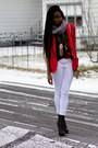 Black-bakers-boots-red-thrifted-vintage-blazer-heather-gray-pashmina-scarf