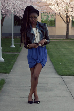 leather H&amp;M jacket - denim moto Tobi jacket - chiffon knotted skirt