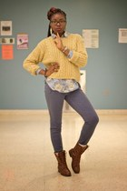 mustard cable knit thrifted sweater - brown combat Charlotte Russe boots