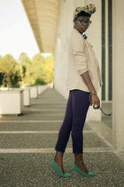 cream H&M blouse - tan FCUK blazer - yellow headwrap scarf