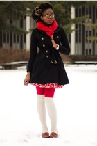 black dress H&M coat - red tights - red cashmere scarf