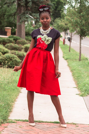 navy strawberry talbots top - red midi Ebay skirt - beige talbots heels