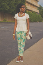white DSW flats - turquoise blue talbots pants - ivory peplum Forever 21 top