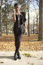 black fringed H&M dress - black fur H&M scarf - black kitten Payless heels